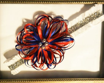 Fourth of July Red, White & Blue Ribbon with Silver Glitter Baby Headband