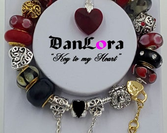"""DanLora """"Key To My Heart"""" Bracelet Chain and Charms"""