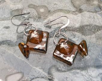 FISH Glass Dangles - Glass DROP EARRINGS - Glass Fish Earrings - Fused Glass Drop Earrings - Glass Jewellery