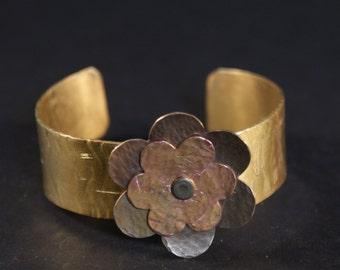 Copper and brass flower cuff bracelet