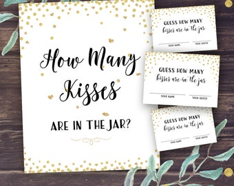 Guess How Many Kisses, Bridal Shower Printable, Gold Confetti Bridal Shower Games, Wedding Shower Guessing Activity Instant Download, Diy