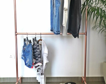 Double Deck Copper Pipe Clothing/Garment Rack