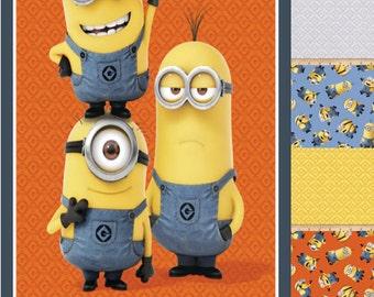 Fat Quarter Bundle - Despicable Me Minions Fabric - Minions Bundle Pack 1 Panel + 7 Fat Quarters 100% Cotton Fabric, B1