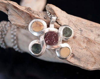 silver 925 pendant, Cosmati design with antique marbles