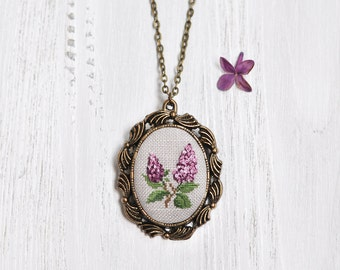 2nd Anniversary Gift For Her. Lilac Necklace. Cotton Wedding Anniversary Gift. Christmas Gift Idea For Wife. Lilac Bouquet Necklace