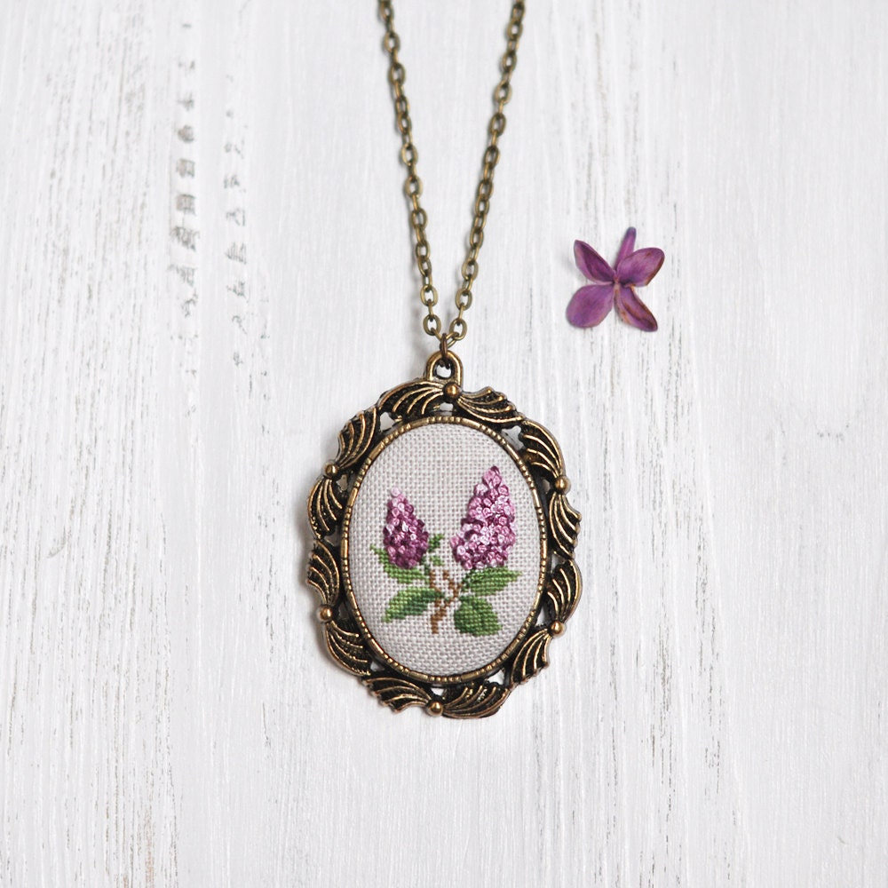 Second Wedding Anniversary Gifts For Her: 2nd Anniversary Gift For Her. Lilac Necklace. Cotton Wedding