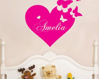 Personalised Heart Butterfly vinyl sticker name. Perfect for your little girls room.
