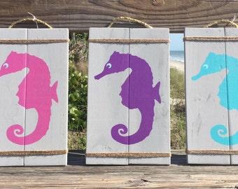 Wood seahorse sign, home decor, beach house sign, reclaimed wood, wall hangings, nautical decor, coastal decor, ocean decor, nautical