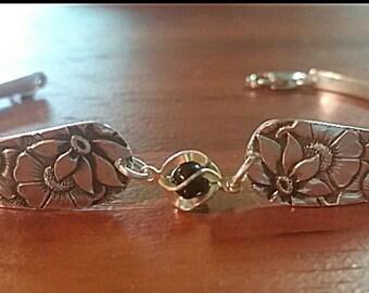 Spoon bracelet, silverware jewelry, silver spoon bracelet, vintage jewelry, flower bracelet
