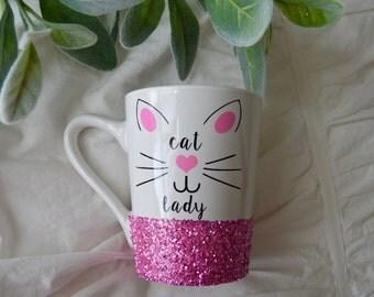 Cat Lady Glitter Mug // Glitter Mug  // Coffee Mug// Kitten Mug // Cat Whiskers // Cat Mug