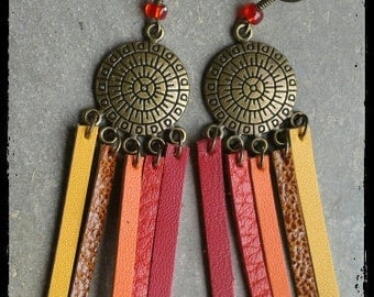 Earrings with fringes of leather - model Aztec (red - orange - yellow)