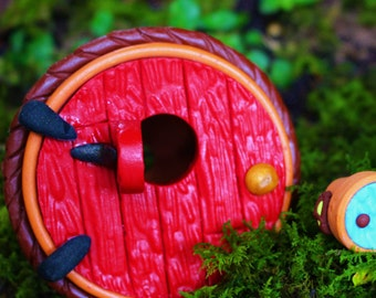 1 Flower Pot Fairy House, Fairy Garden Accessories, Handmade Red Fairy Door, Miniature Garden, Hobbit Door