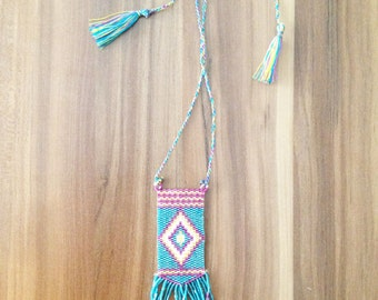 Geometric necklace, loom necklace, seed bead necklace, tribal, ethnic necklace, bohemian necklace, statement necklace, hippie jewelry