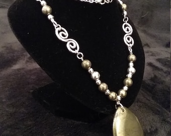 Natural Pyrite Silver Plated Necklace