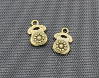 30pcs Telephone Charm Antique Bronze Tone 10x15mm - BH90