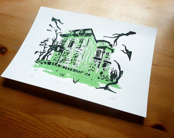 "Witch on the Hill Lino Print 8""x11"" Home Decor, Wall Art"