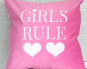 girls rule pink and white velvet throw Pillow - 18X18 throw pillow, pink and white nursery decor, pink kids room, baby gift, kids pillow