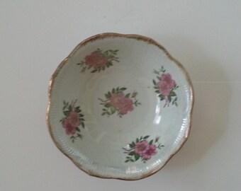 Painted, Leaf & Flowers, Serving Bowl, Fruit Bowl, Decorative, Vintage