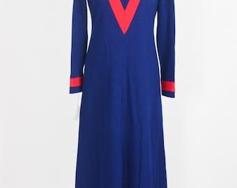 """1960's Designer Wool Maxi Dress by George Halley/Waist 28"""""""