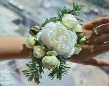 White Wrist Corsage, Floral Prom Corsage, Wedding Wrist Corsage, Rose Wedding Flowers, Bridesmaids Wrist Corsage, Bridal Corsage