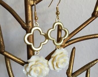 Ivory rosette dangle earrings