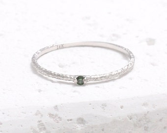 0.02ct Green Diamond Twig Thin Band 14K Solid Gold Ring