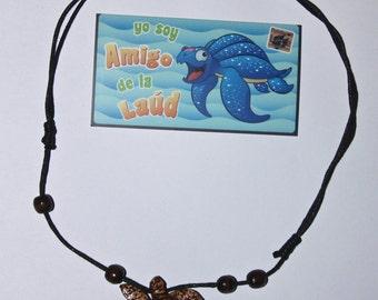 Adjustable wood turtle necklace