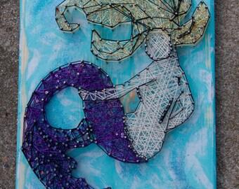 Mermaid, String Art, Sparkle, Glitter, Ethereal, Decor