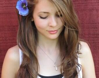 Light Blue Pansy Flower Hair Pin