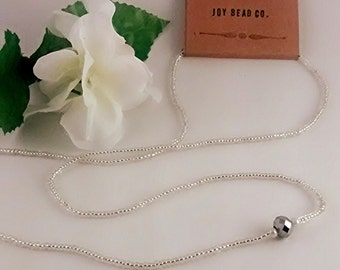 Silver Glass Bead Necklace with Silver Bead Accent