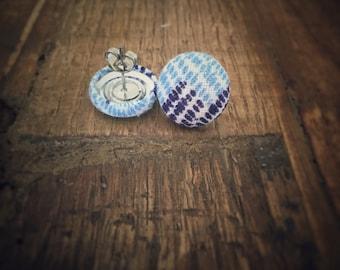 Abstract Feedsack Blue Earrings. Vintage Fabric. Handmade Earrings. Fabric Button Earrings. Gifts For Her. Stud Earrings. Clip On Earrings.