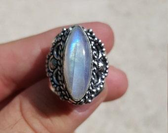 Rainbow Moonstone Ring Size 9 3/4 .925 Silver