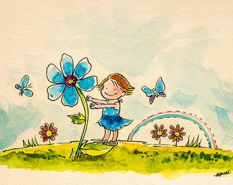"Childhood - Archival Quality Art Print - Watercolor Illustration - ""Childhood"""