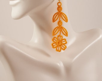 Orange lace earrings Light orange lace jewelry Orange embroidered earrings Statement earrings Lace jewelry  Drop earrings Dangle earrings