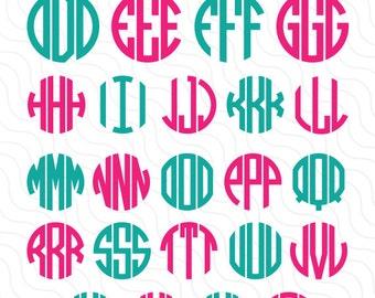 Circle Monogram Font SVG, Cricut, Silhouette Studio, Sure Cuts A Lot, Cameo, Screen Printing, PM-0008