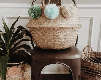 Mint To Be - Large Triple Pom Basket