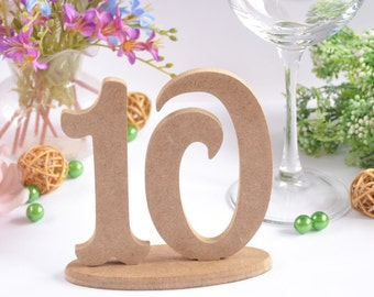 Table numbers Set of 10 table numbers Wooden numbers Wedding numbers Elegant table numbers Freestanding numbers Wedding decor Table decor