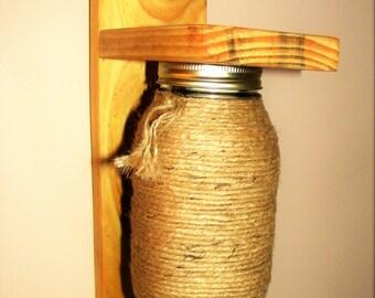 Mason Jar Sconce - Reclaimed Wood