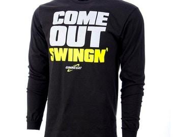 GIMMEDAT Come Out Swingin' Long Sleeve Softball T-Shirt, Softball Shirts, Softball Gifts - Free Shipping!