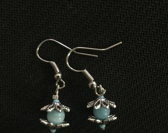 Light Blue & Silver Beaded Earrings
