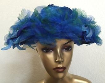Vintage Womens Blue Flower Hat