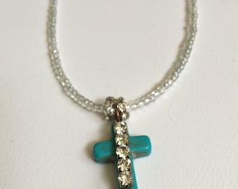 Cross Necklace, Cross Charm, Beaded Cross Necklace