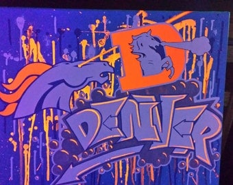 Denver Broncos canvas that glows under blacklight