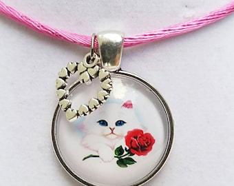 Cat Necklace Cat Pendant Cat Jewelry Girls Necklace Kids Necklace Kitty Necklace Pink Necklace Cat Jewelry Kids Jewelry