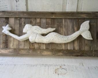 Cream Mermaid on Reclaimed Wood