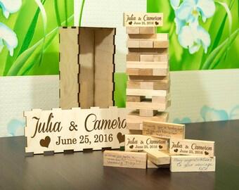 Wedding GuestBook Alternative Personalised Wedding Jenga Wedding Game Wedding guest book Personalised Jenga Wedding gift Anniversary gift