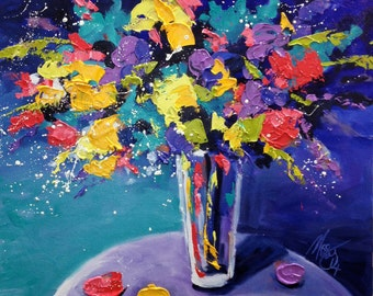 Original Art 'Spring Carnival' by Missy M - Impasto Textured Oil Painting on Canvas - Un-stretched -  Modern Art - Floral Spray 75cm x 75cm