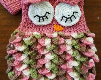 Crochet baby owl cocoon and hat set