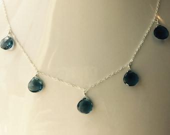 London Blue Topaz Necklace ,Quartz Briette Necklace , December Birthstone , layering Necklace, Charm Necklace, Bridal Necklace