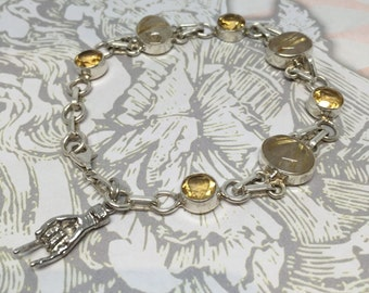 Golden Rutilated Quartz and Crystal Bracelet with Hand Charm / Figa Charm in Sterling Silver